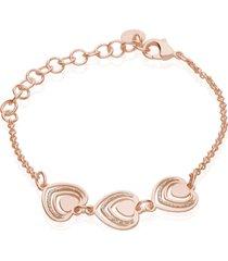 bracciale in ottone e glitter con ciondoli a forma di cuore per donna