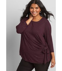 lane bryant women's side-tie foil-dot top 18/20 pickled beet