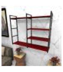 estante estilo industrial sala aço preto 120x30x98cm cxlxa mdf vermelho modelo ind46vrsl