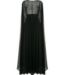 zuhair murad flyaway cape gown - black