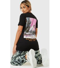 polera missguided bad influence graphic t shirt  negro - calce oversize
