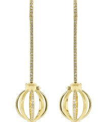 katherine jetter 18kt yellow gold diamond cage drop earrings - ylwgold