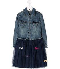 billieblush ribbon denim shirt dress - blue