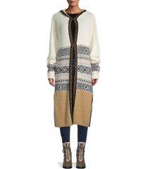 daisy says women's hooded knit long jacket - size s
