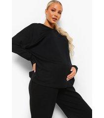 zwangerschap oversized geribbelde hoodie, black
