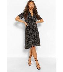 blouse style midi jurk met stippen, zwart