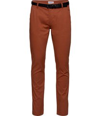 classic stretch chino w. belt chinos byxor orange lindbergh