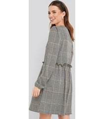 na-kd frill detailed check oversize dress - multicolor