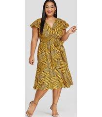 yoins plus talla amarillo ribete de volantes lunares escote en v vestido