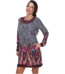white mark women's sandrine embroidered sweater dress