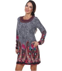 white mark women's sandrine embroidered sweater dress