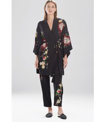 miyabi silk embroidered wrap robe, women's, 100% silk, size m, josie natori