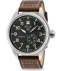 gv2 men's aeronautica swiss automatic stainless steel & leather strap pilot watch