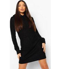 tall gebreide sweatshirt jurk met capuchon, black