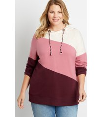 maurices plus size womens burgundy colorblock pullover hoodie red