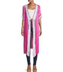 saachi women's tie-dyed crochet kimono - pink