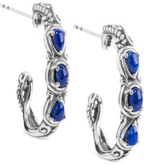 caroly pollack lapis lazuli hoop earrings (1 ct. t.w.) hoop earrings in sterling silver