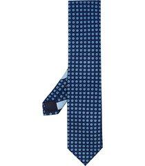 ermenegildo zegna circle print pointed tie - blue