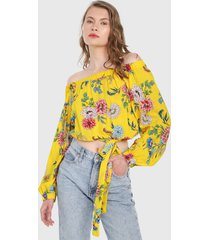 blusa amarillo-multicolor paris district