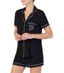 women's kate spade new york short pajamas, size x-small - black