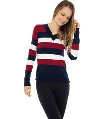 blusa de tricô pink tricot manga longa suéter modal listrado feminino