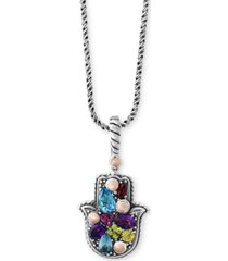 balissima by effy multi-gemstone hamsa hand pendant necklace (1-1/3 ct. t.w.) in sterling silver & 18k rose gold