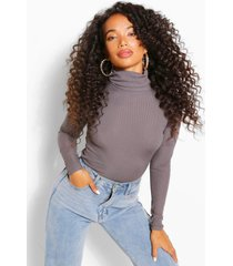 petite rib long sleeved turtle neck top, charcoal