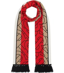 red and beige cashmere logo scarf