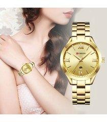 reloj curren dama elegante acero análogo fechador dorado