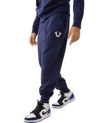 men's true religion brand jeans core horseshoe cotton blend joggers, size x-large - blue