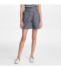 karl lagerfeld paris belted linen shorts
