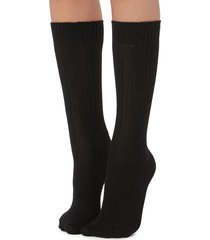 calzedonia - short ribbed socks with wool and cashmere, one size, black, women