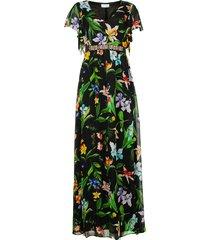 maxi jurk met bloemenprint audace  zwart