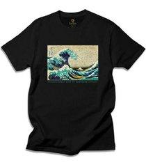 camiseta arte e cultura cool tees great waves - masculino