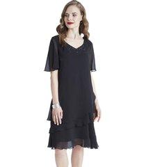 vestido con capas a la rodilla negro lorenzo di pontti