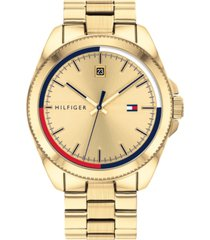 tommy hilfiger men's gold ion-plated stainless steel bracelet watch 44mm, created for macy's