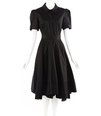 co. black cotton midi shirt dress black sz: l