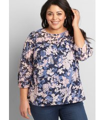 lane bryant women's clip dot peasant top 38/40 blue and pink floral