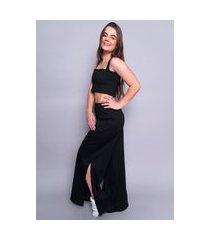 blusa 4 estações top cropped feminino liso canelado sem bojo preto