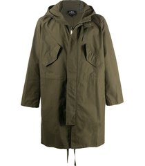 a.p.c. relaxed fit hooded parka - green