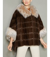 the fur vault lynx-fur-trim mink fur jacket