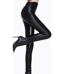 piel sintética bodycon negra pantalones