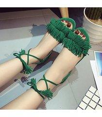 sandali piatti casuali in peep toe con lacci e pizzo