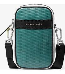 mk borsa a tracolla greyson per smartphone in pelle color block con logo - wht/neon yel - michael kors