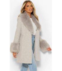 nepwollen jas met faux fur kraag en manchettes