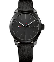 tommy hilfiger men's black leather strap watch 42mm, created for macy's