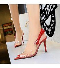 mujer taco sandalias zapatos de tacon con nudo ojal-rojo