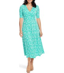 women's chaus laura floral print faux wrap midi dress, size medium - blue/green