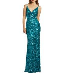 women's mac duggal sequin surplice neck gown, size 16 - blue/green