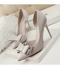 pp256 elegant bowtie pointy pump, pu leather us size 4-8, gray